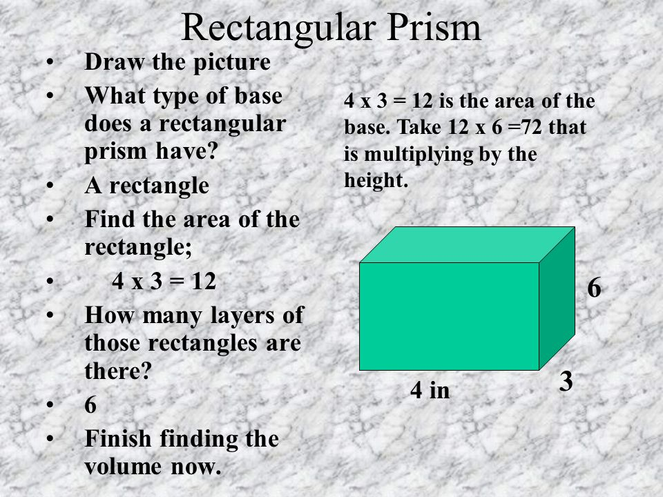 Rectangular Prism 6 3 Draw the picture