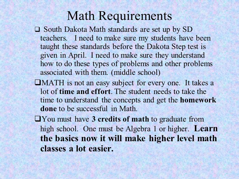 Math Requirements