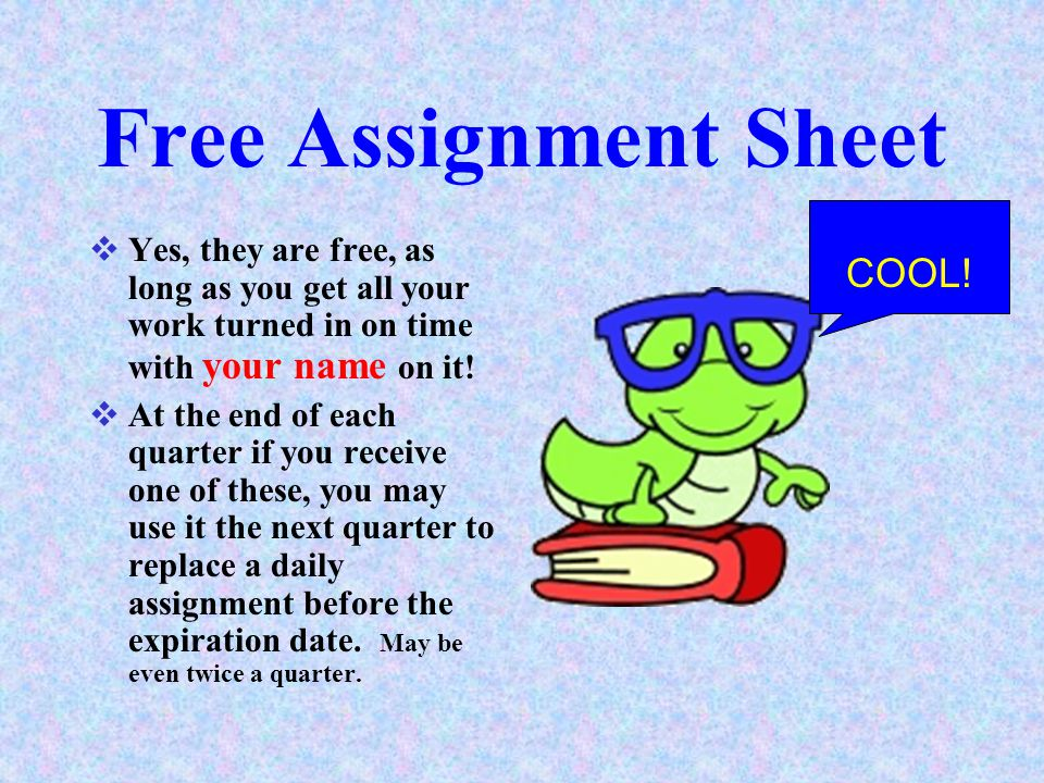 Free Assignment Sheet COOL!