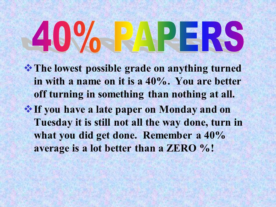40% PAPERS The lowest possible grade on anything turned in with a name on it is a 40%. You are better off turning in something than nothing at all.