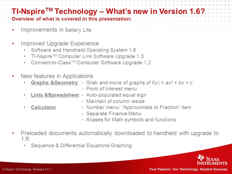 TI-NspireTM Technology – What's new in Version 1. 6
