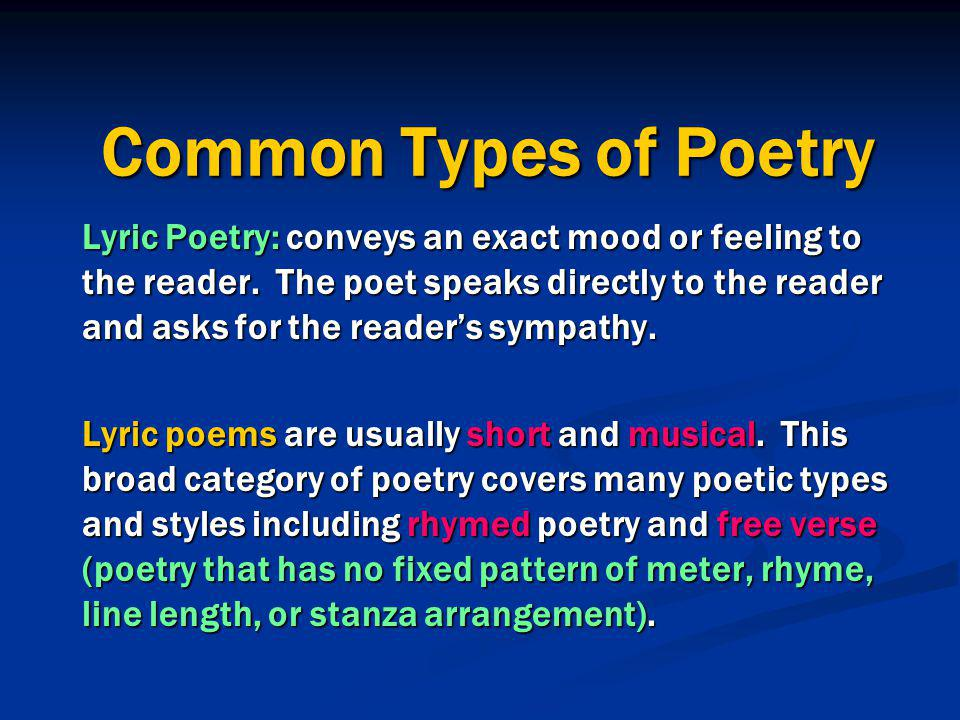 Common Types of Poetry