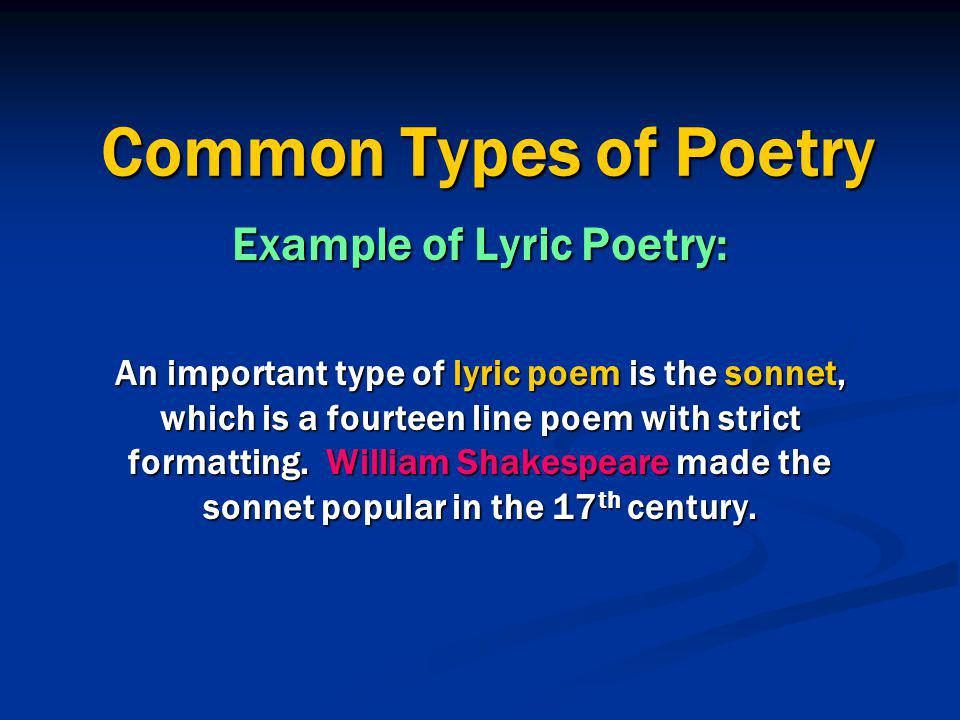 Example of Lyric Poetry: