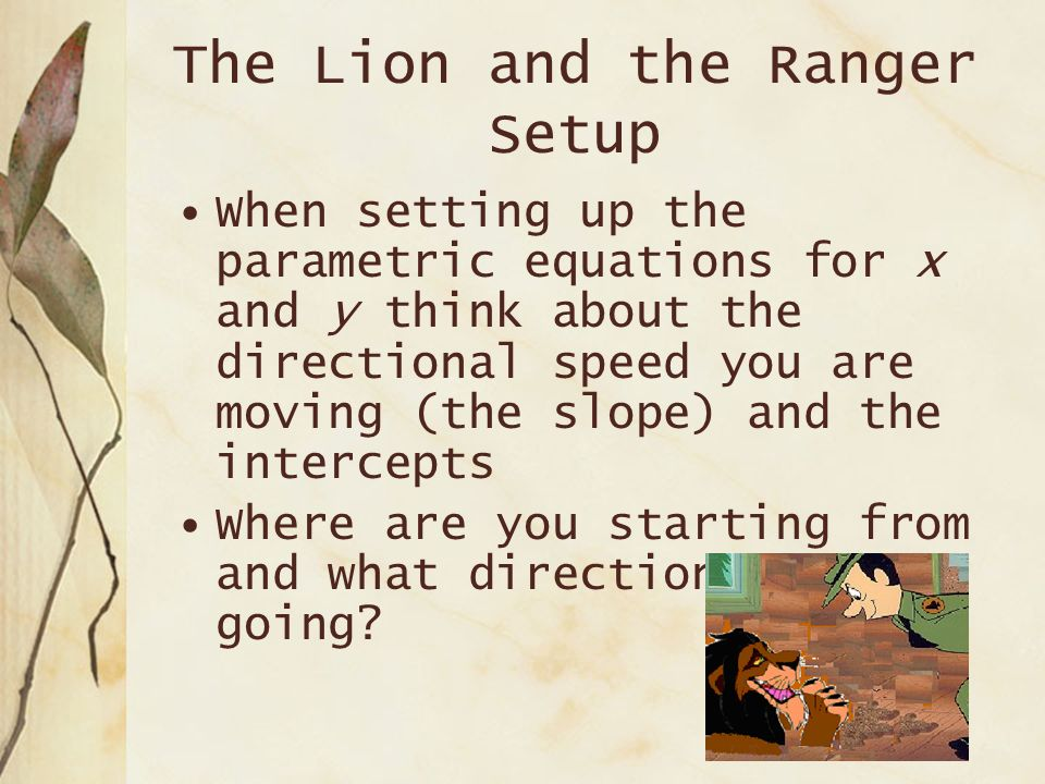 The Lion and the Ranger Setup