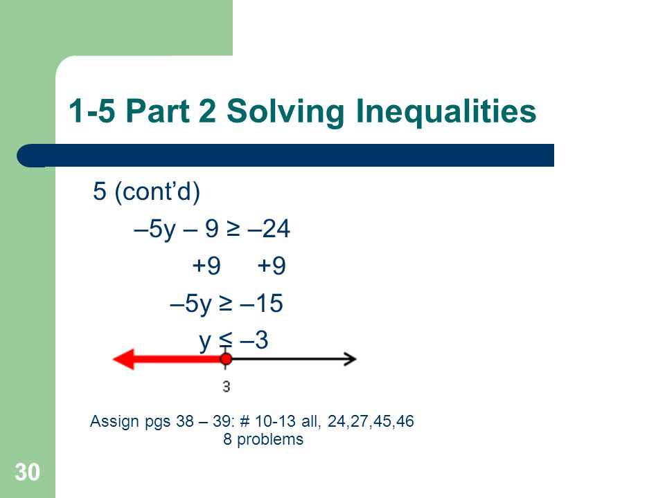 1-5 Part 2 Solving Inequalities