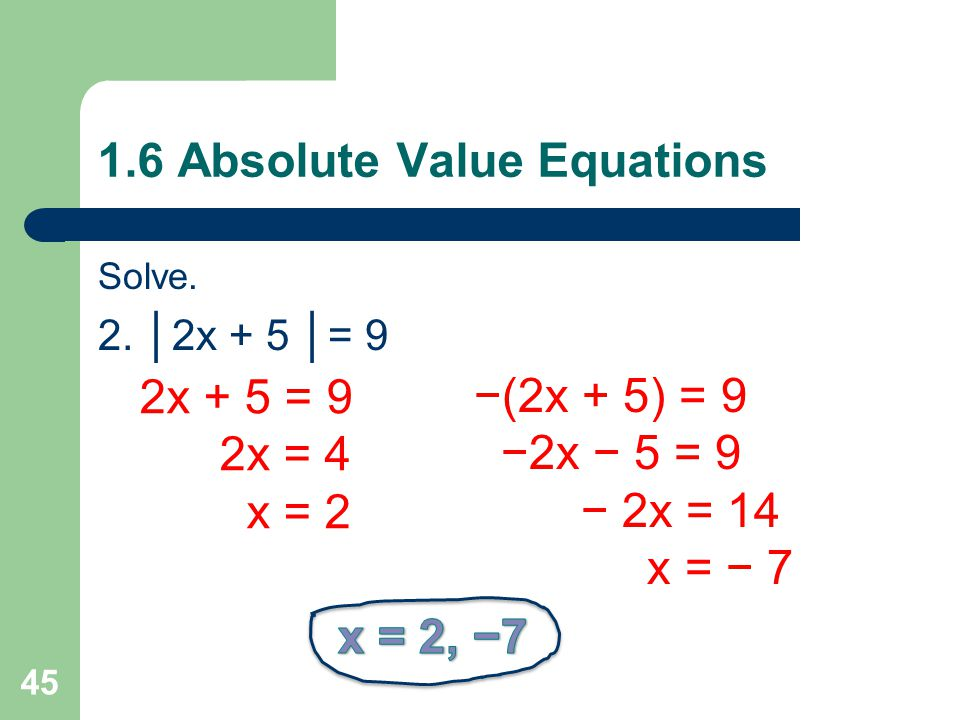 1.6 Absolute Value Equations