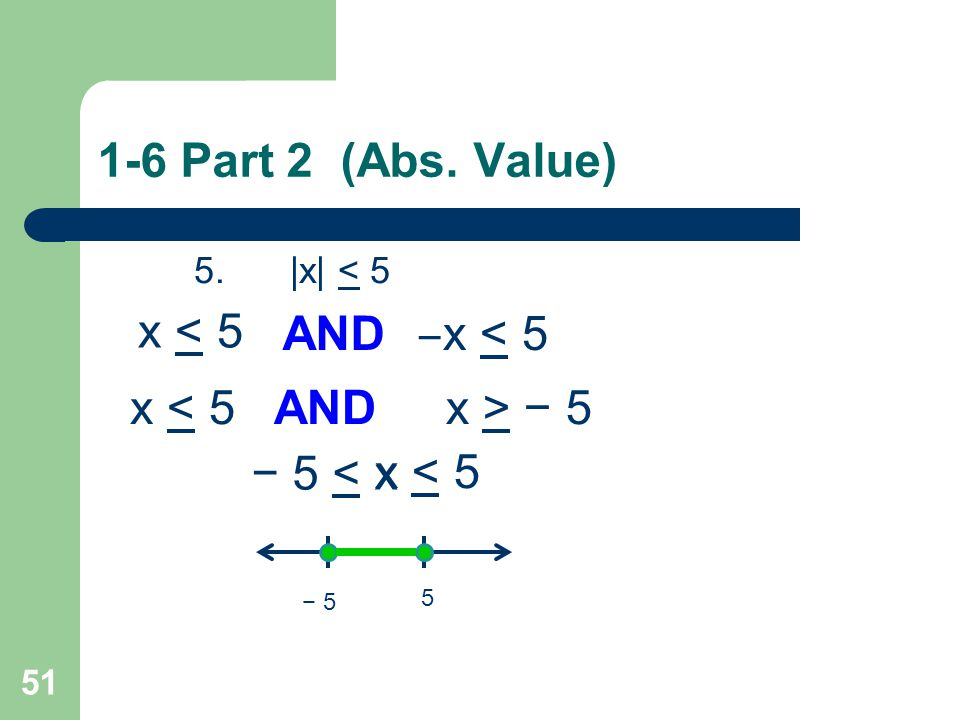 1-6 Part 2 (Abs. Value) x < 5 AND ‒x < 5 x < 5 AND x > − 5