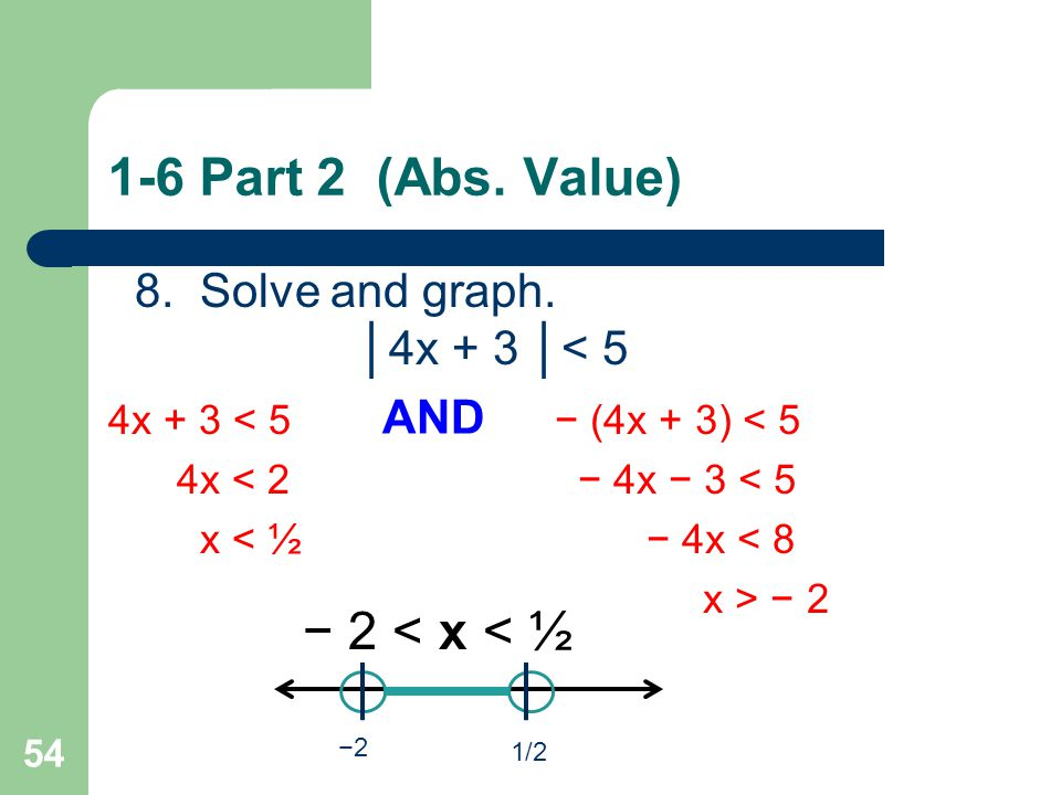 1-6 Part 2 (Abs. Value) − 2 < x x < ½ 8. Solve and graph.
