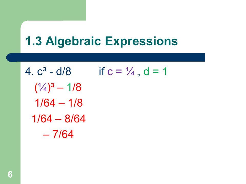 1.3 Algebraic Expressions