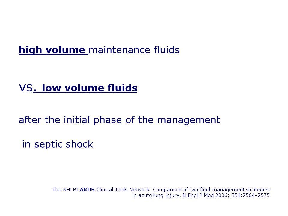 vs. low volume fluids high volume maintenance fluids