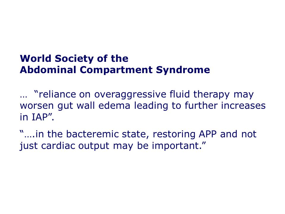 World Society of the Abdominal Compartment Syndrome