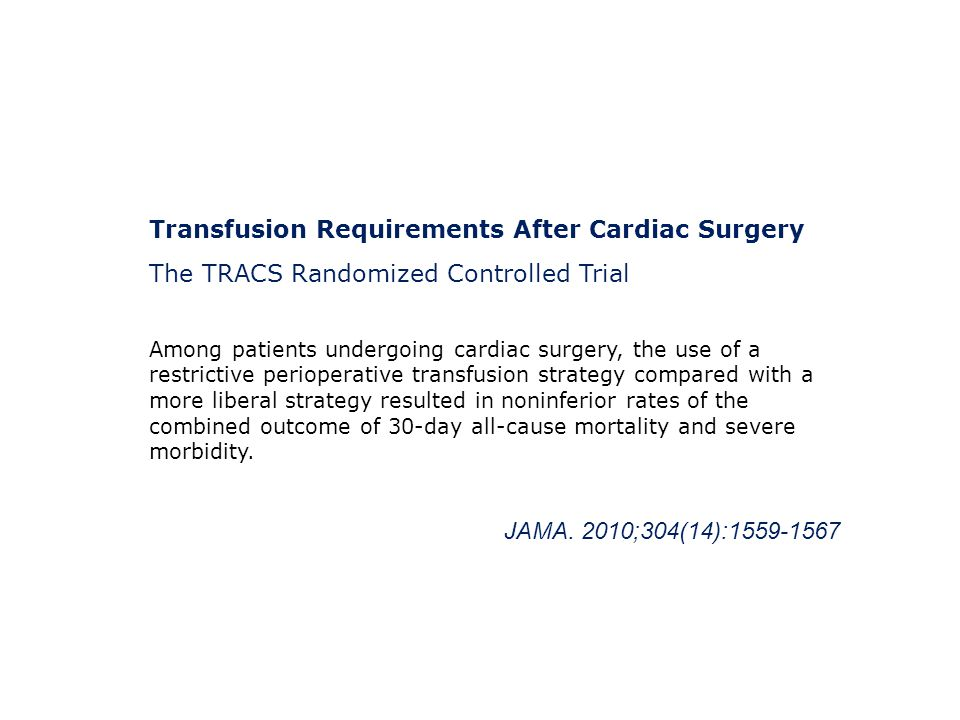 Transfusion Requirements After Cardiac Surgery