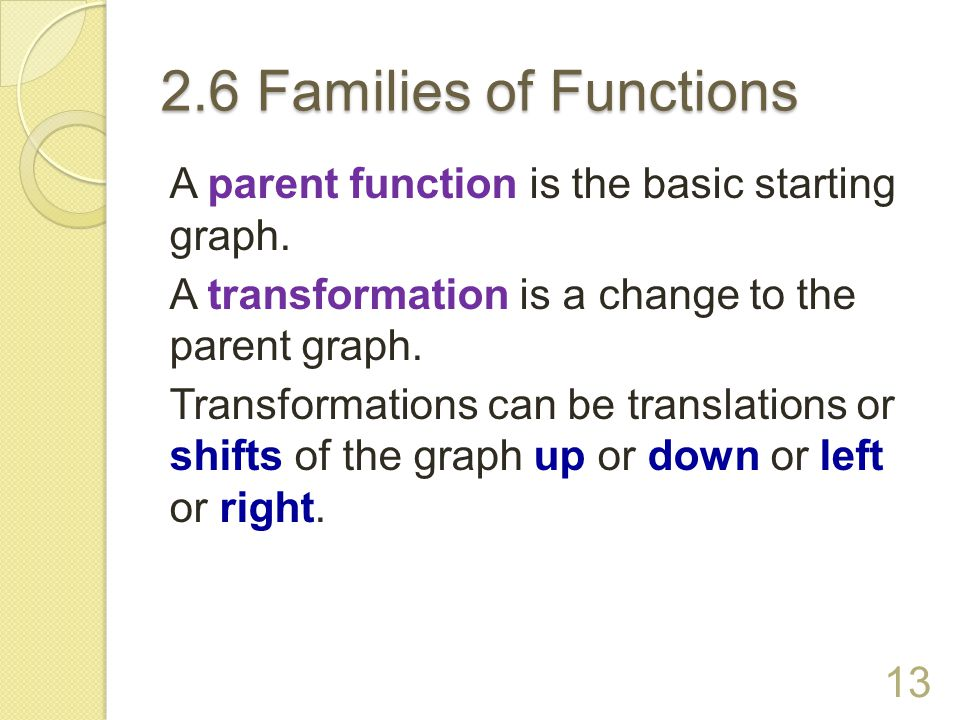 2.6 Families of Functions