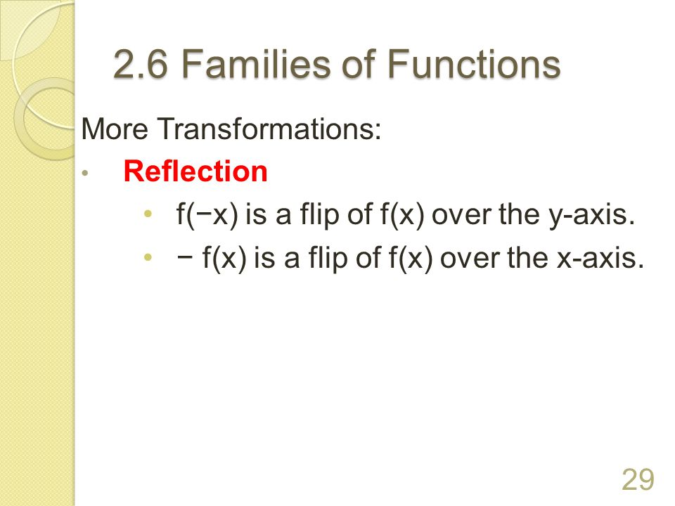 2.6 Families of Functions More Transformations: Reflection
