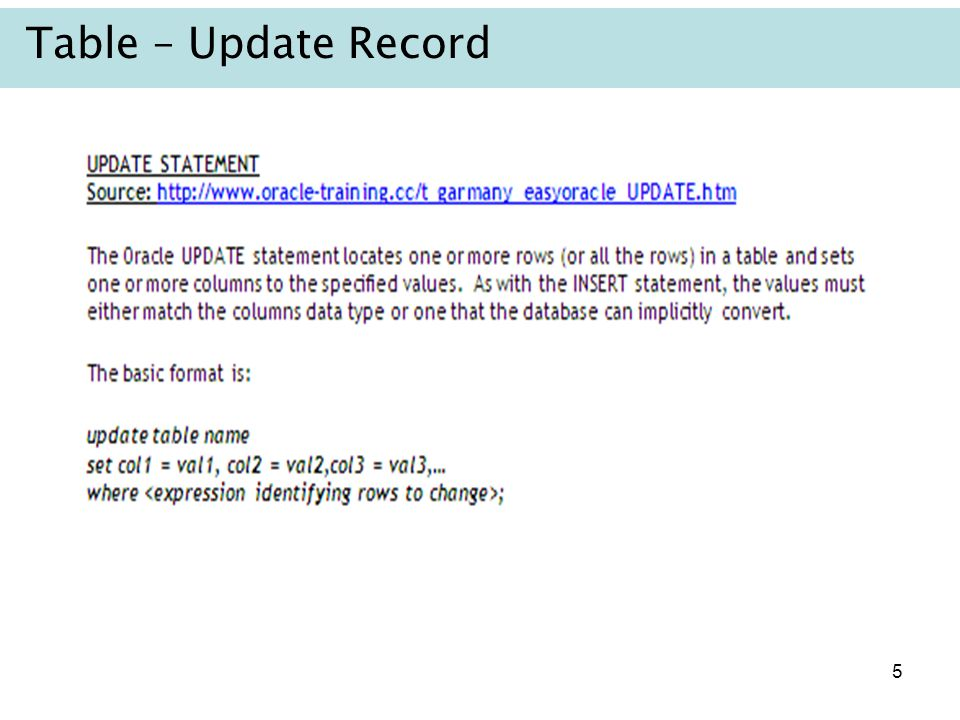 Table – Update Record