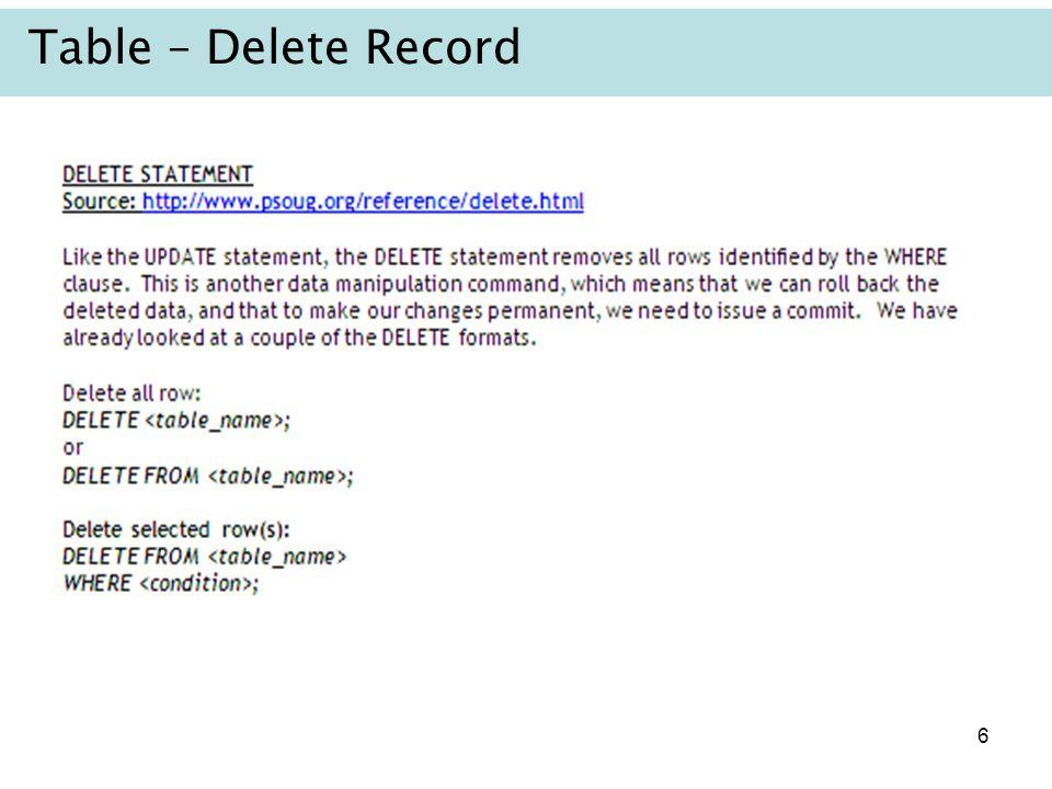 Table – Delete Record