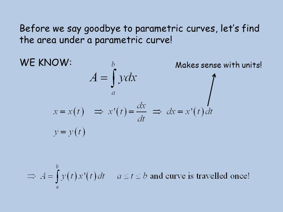 Before we say goodbye to parametric curves, let's find the area under a parametric curve!