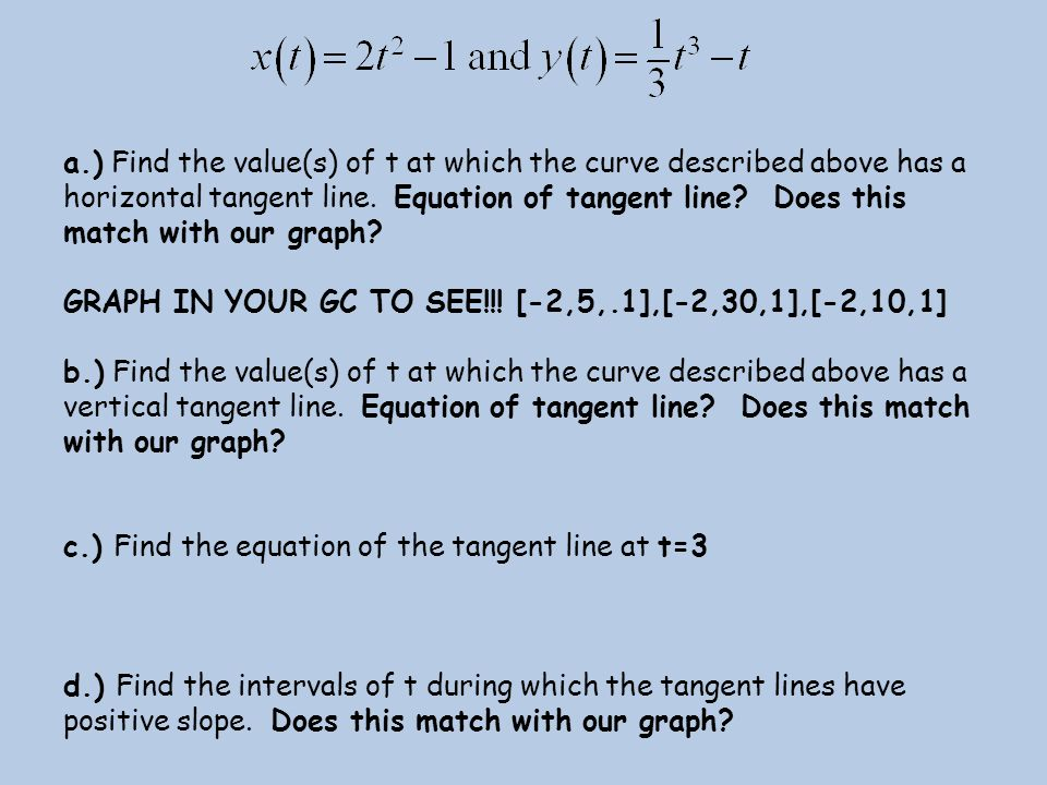 a.) Find the value(s) of t at which the curve described above has a horizontal tangent line. Equation of tangent line Does this match with our graph