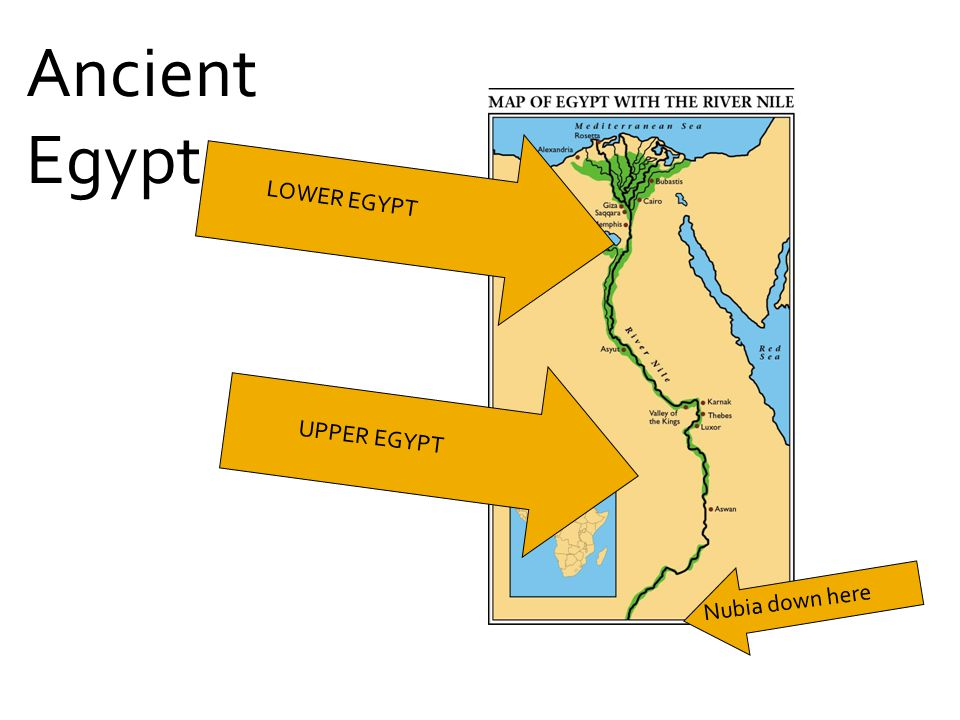 Ancient Egypt LOWER EGYPT UPPER EGYPT Nubia down here