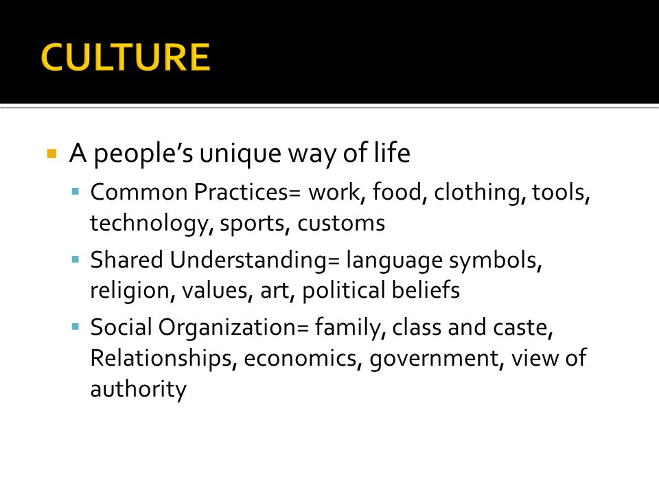 CULTURE A people's unique way of life