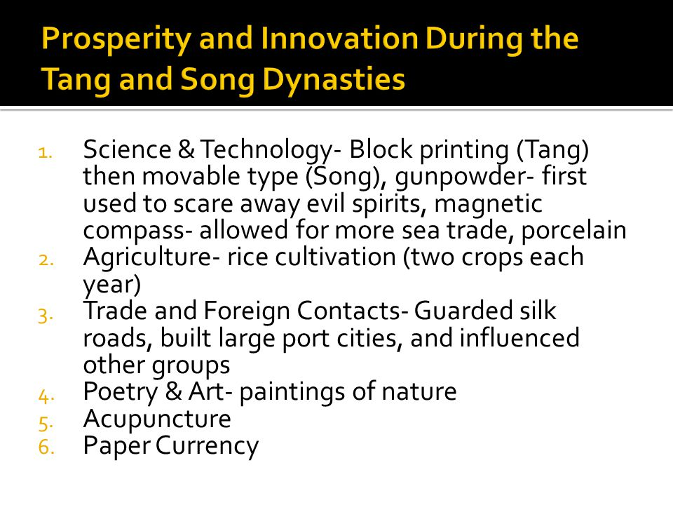 Prosperity and Innovation During the Tang and Song Dynasties