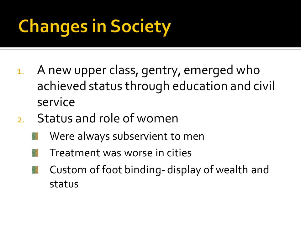 Changes in Society A new upper class, gentry, emerged who achieved status through education and civil service.