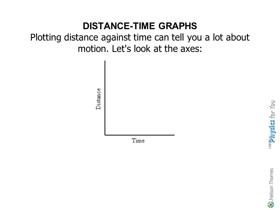 DISTANCE-TIME GRAPHS Plotting distance against time can tell you a lot about motion.