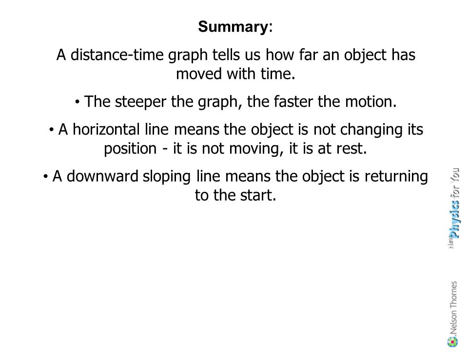 A distance-time graph tells us how far an object has moved with time.