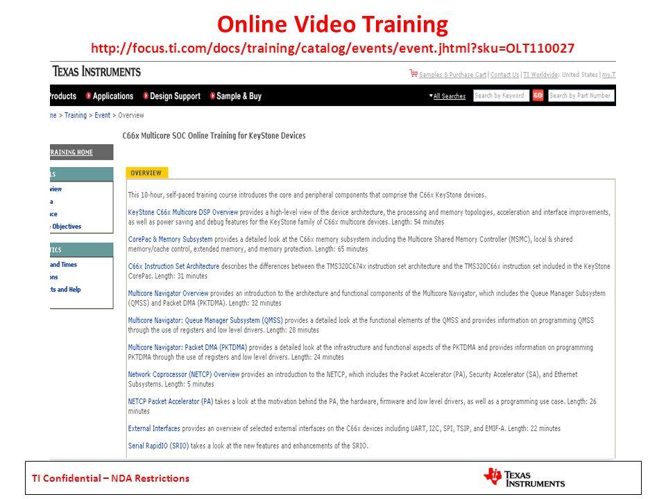 Online Video Training http://focus. ti