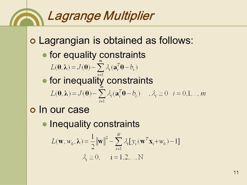 Lagrange Multiplier Lagrangian is obtained as follows: In our case