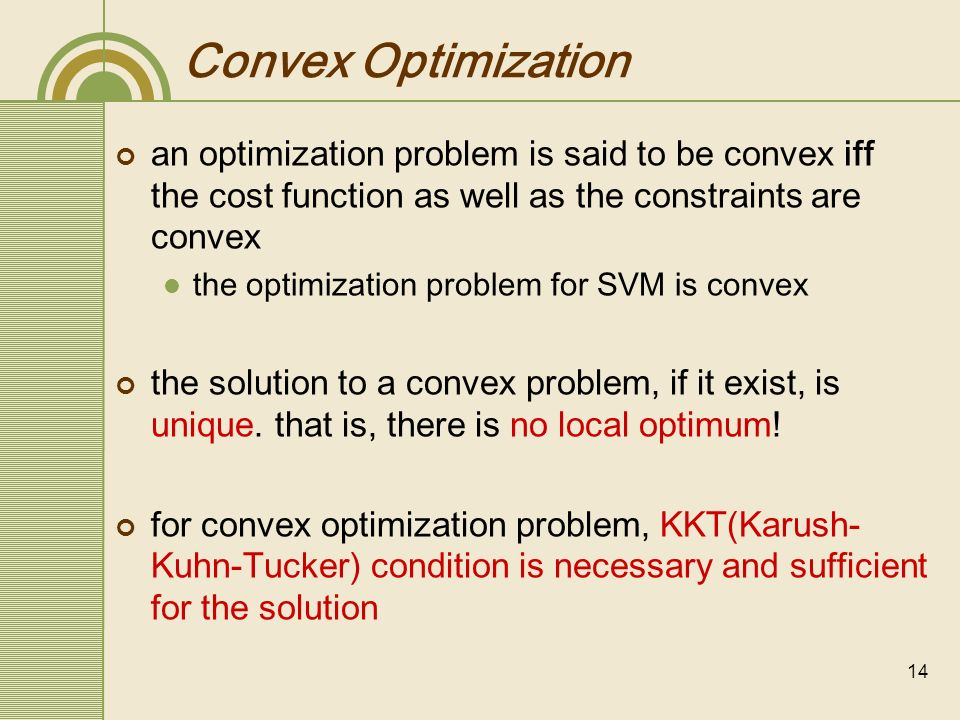 Convex Optimization an optimization problem is said to be convex iff the cost function as well as the constraints are convex.