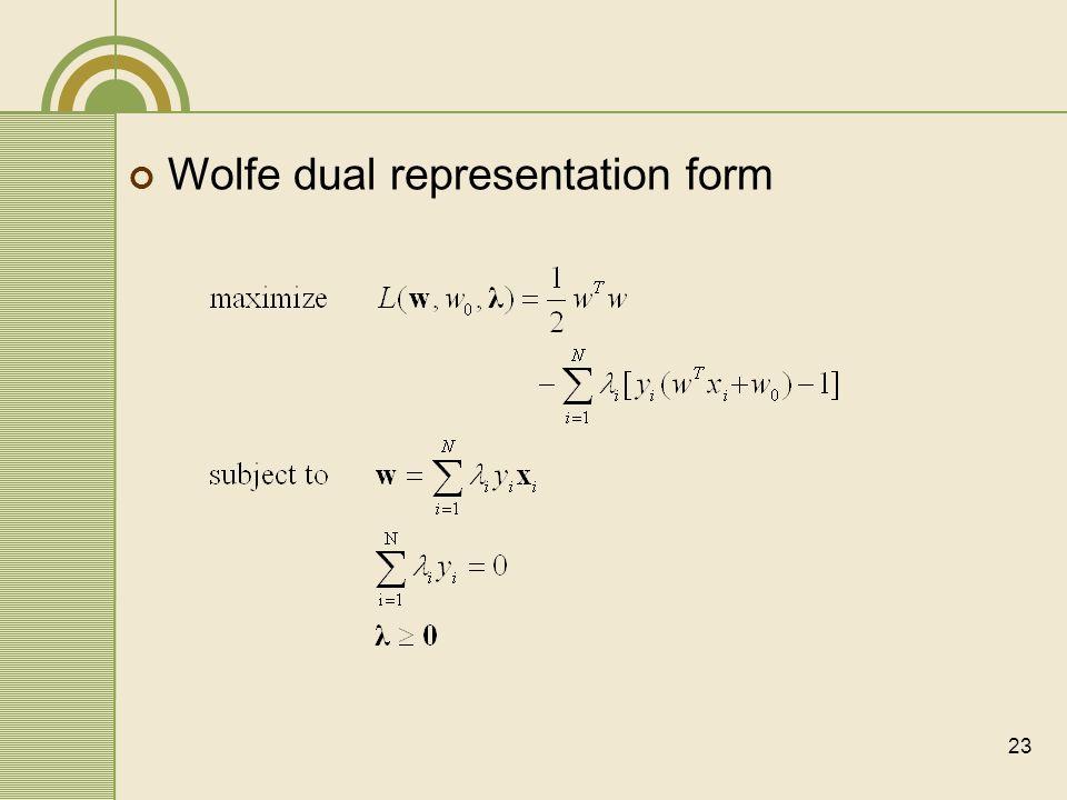 Wolfe dual representation form