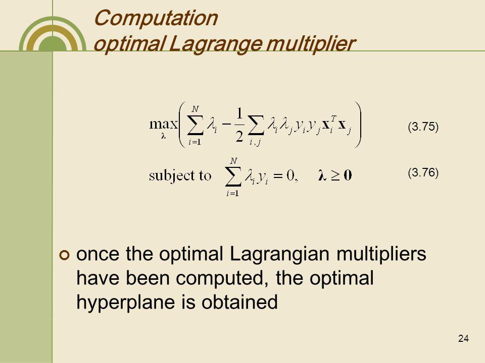 Computation optimal Lagrange multiplier