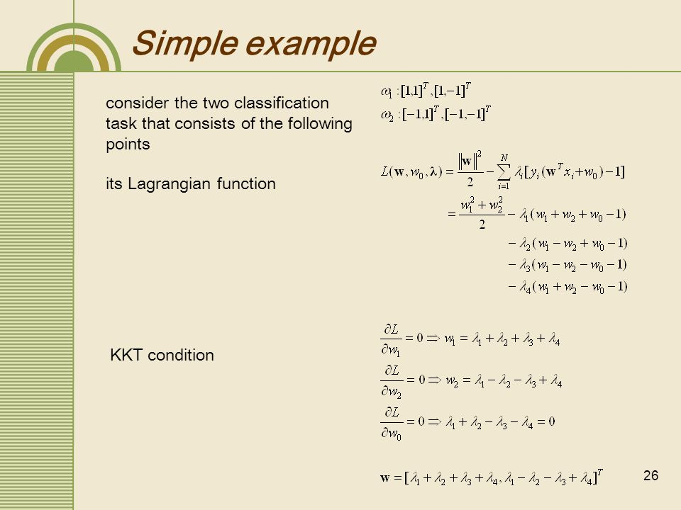Simple example consider the two classification task that consists of the following points. its Lagrangian function.