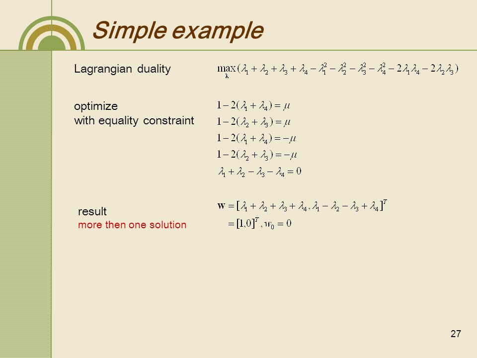 Simple example Lagrangian duality optimize with equality constraint