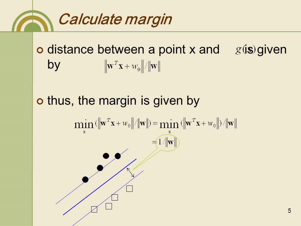 Calculate margin distance between a point x and is given by