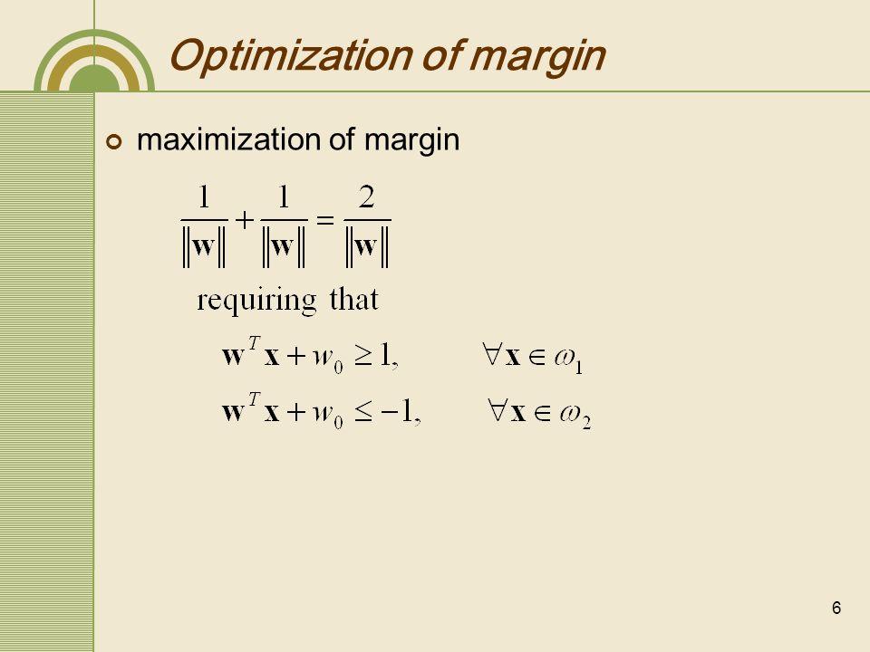 Optimization of margin