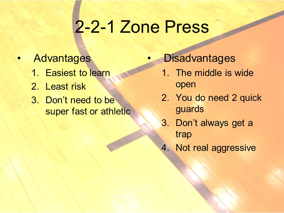 2-2-1 Zone Press Advantages Disadvantages Easiest to learn Least risk