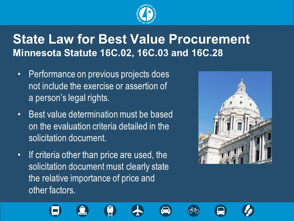 State Law for Best Value Procurement Minnesota Statute 16C. 02, 16C