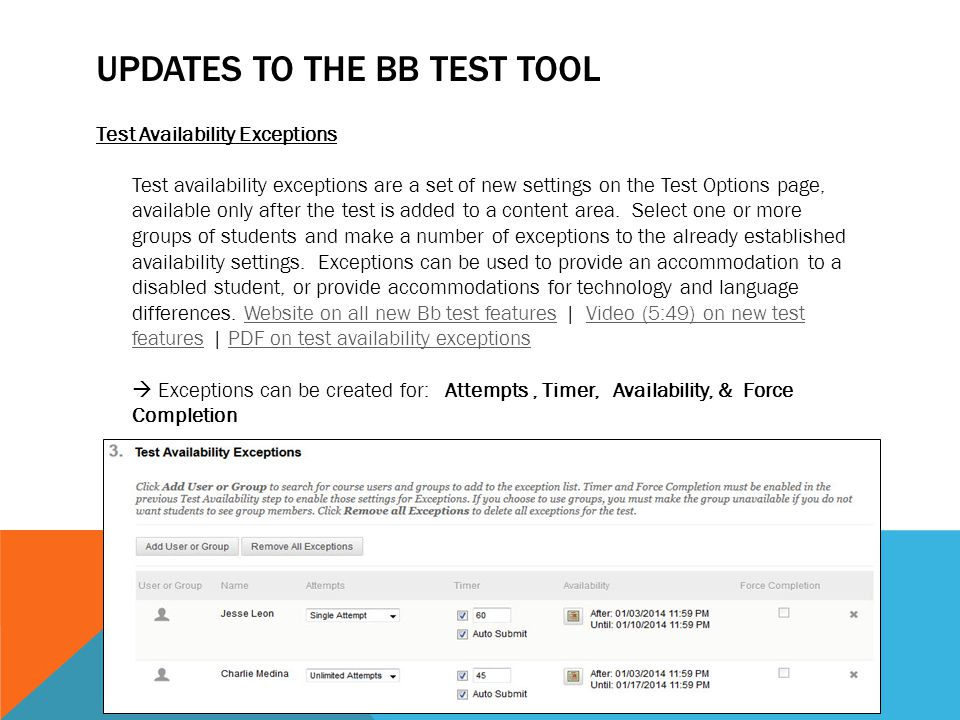 Updates to the Bb Test Tool
