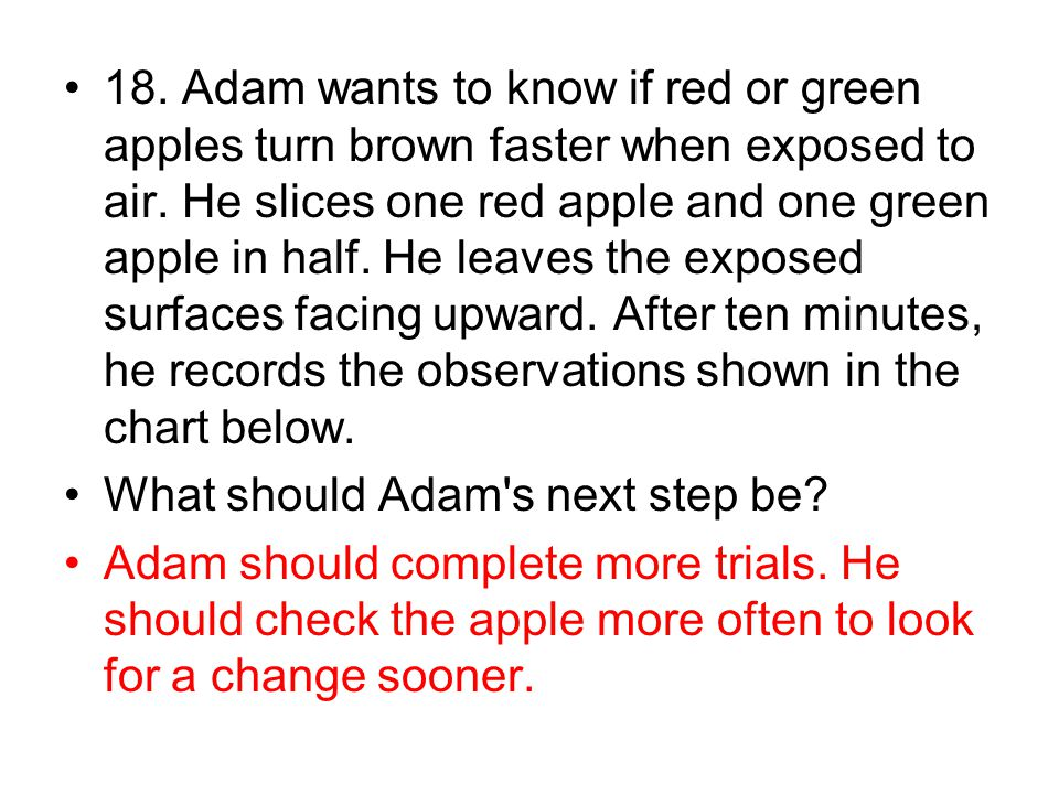 18. Adam wants to know if red or green apples turn brown faster when exposed to air. He slices one red apple and one green apple in half. He leaves the exposed surfaces facing upward. After ten minutes, he records the observations shown in the chart below.