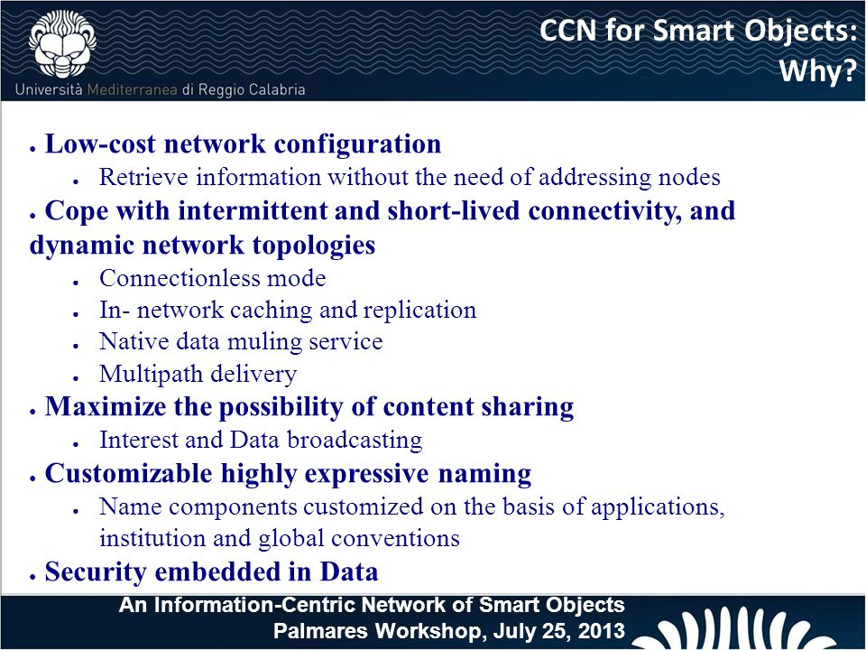 CCN for Smart Objects: Why Low-cost network configuration