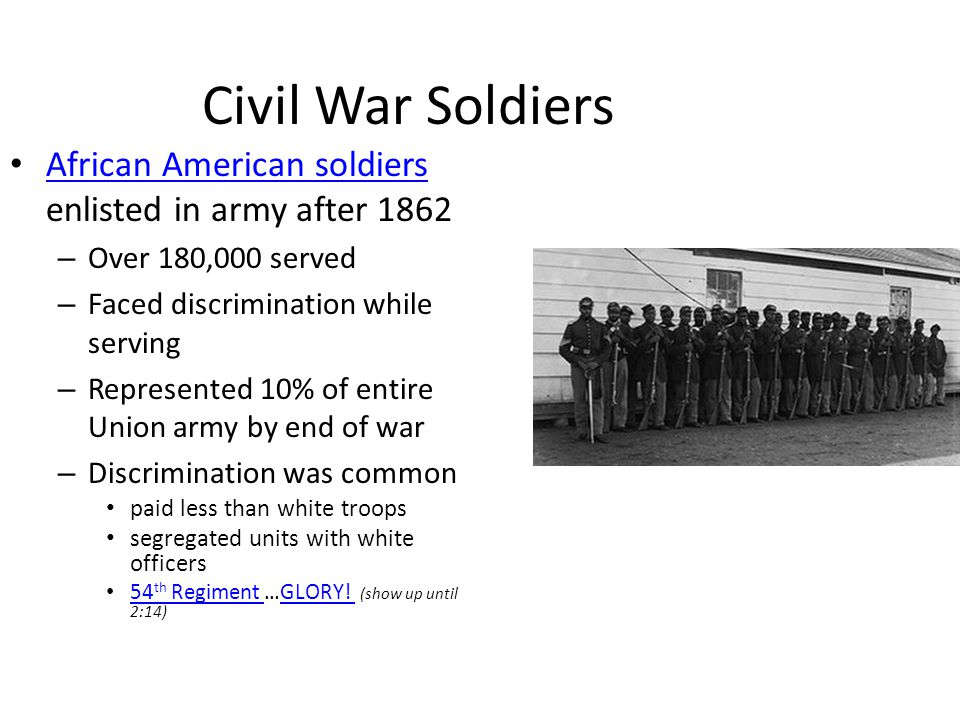 Civil War Soldiers African American soldiers enlisted in army after 1862. Over 180,000 served. Faced discrimination while serving.