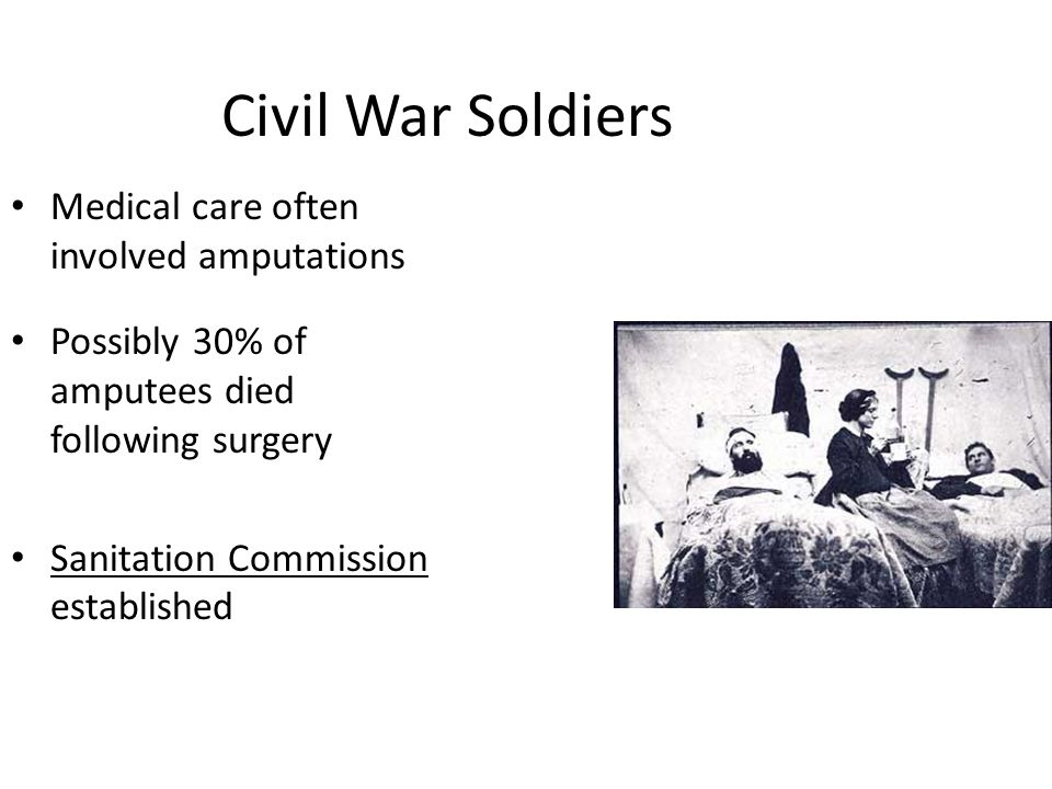 Civil War Soldiers Medical care often involved amputations