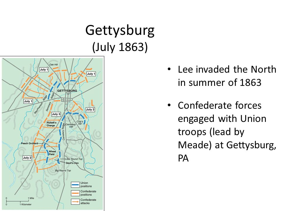 Gettysburg (July 1863) Lee invaded the North in summer of 1863