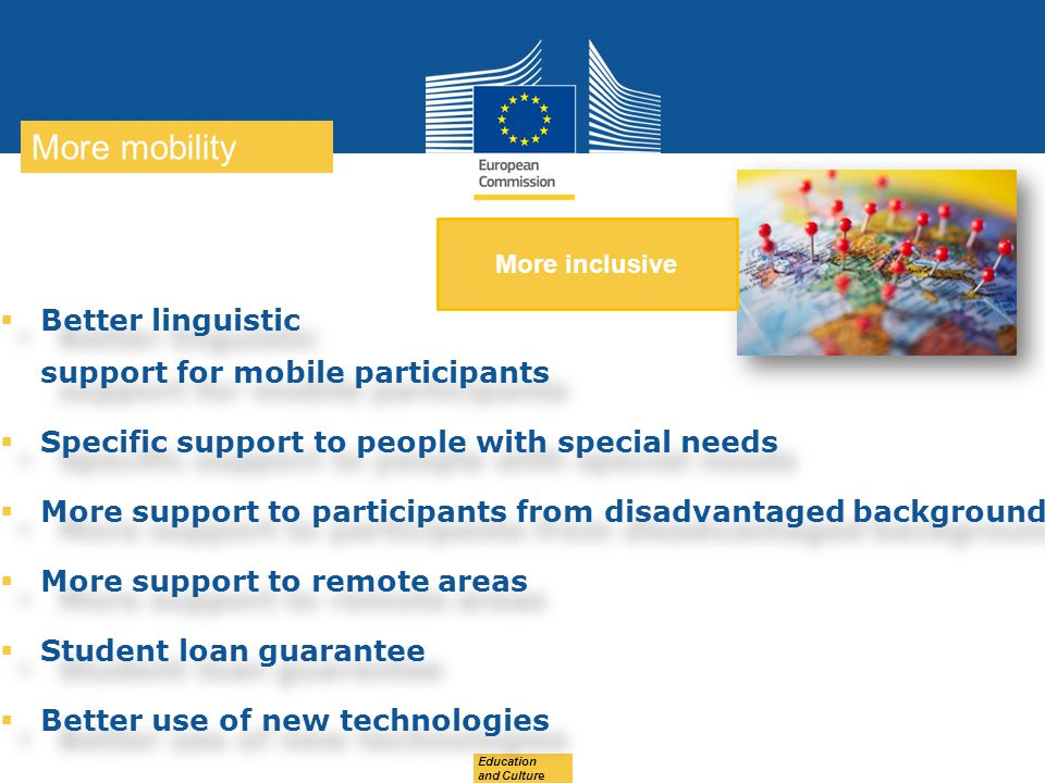 More mobility Better linguistic support for mobile participants