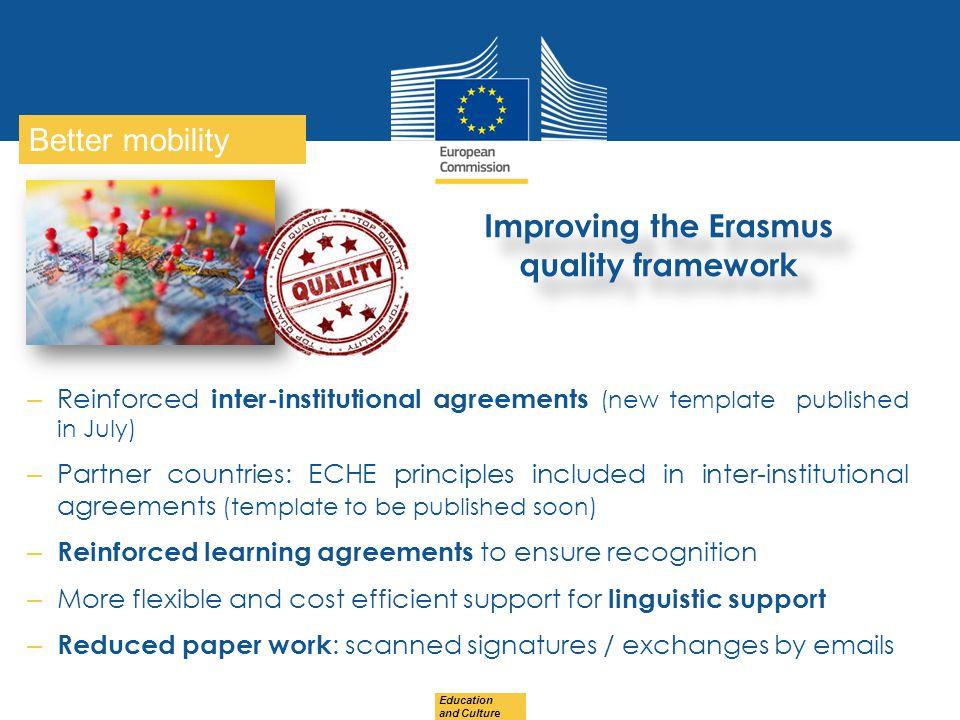 Improving the Erasmus quality framework
