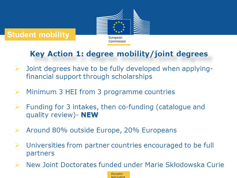Key Action 1: degree mobility/joint degrees