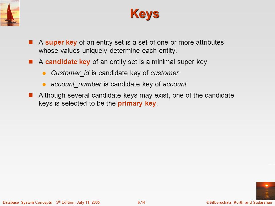 Keys A super key of an entity set is a set of one or more attributes whose values uniquely determine each entity.