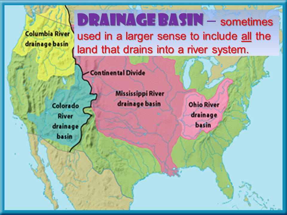 Drainage Basin – sometimes used in a larger sense to include all the land that drains into a river system.